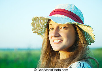 Portrait of girl in hat
