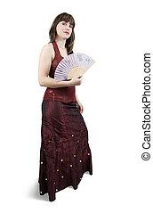 girl in red dress with fan