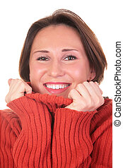 portrait of girl in red sweater 2