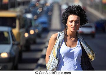 Portrait of girl on highway