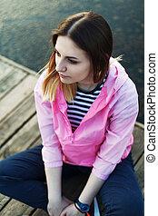 Portrait of girl on pier