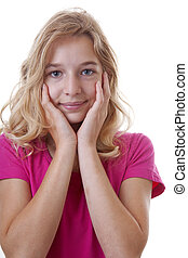 Portrait of girl who looks surprised over white background