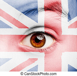 girl with british flag painted