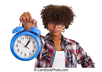 portrait of girl with clock