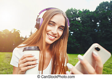 Portrait Of Girl With Coffee And Smartphone