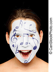 girl with music notes painted on her face