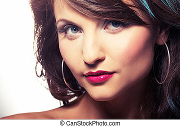 portrait of girl with red lipstic