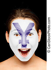 girl with yen symbol painted on her face