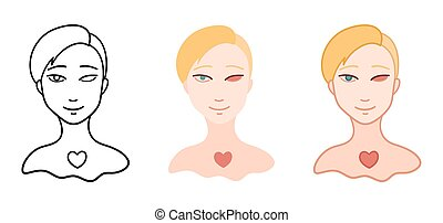 Portrait of girl without eye in different styles set. Body ...