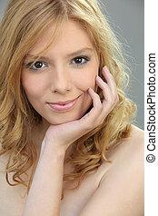 Portrait of gorgeous blond woman