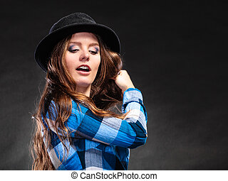 Portrait of gorgeous country woman girl. Fashion.
