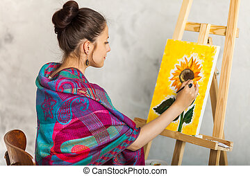 Portrait Of Gorgeous Woman Artist Painting In Art Studio
