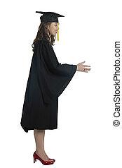 graduating woman gesturing hand shake