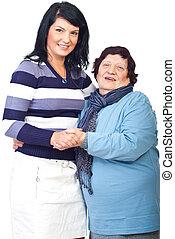 Portrait of grandma with granddaughter - Portrait of happy ...