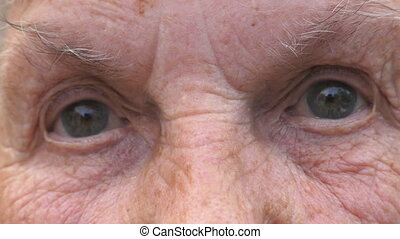 Portrait of grandmother looking into camera with a sad...