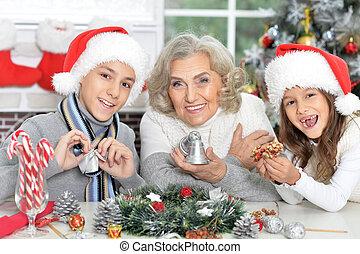 Portrait of grandmother with  grandchildren