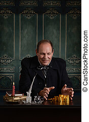 greedy victorian miser happy with pile of money