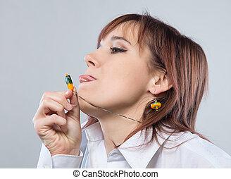 Portrait of grimace woman with necklace