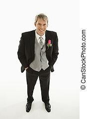 Portrait of groom.
