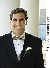 Portrait of groom. - Portrait of Caucasian mid-adult groom...