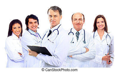 Portrait of group of smiling hospital