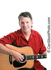 Portrait of Guitarist on White