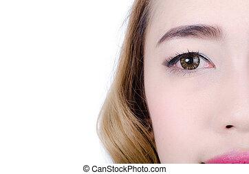 portrait of half face of beautiful