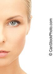 half face of beautiful woman - portrait of half face of...