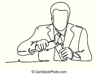 Portrait of handsome businessman drinking water after a difficult talk. Professional vector illustration isolated on white background. Continuous line drawing. Vector monochrome, drawing by lines