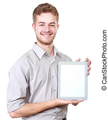 handsome businessman presenting using blank tablet pc