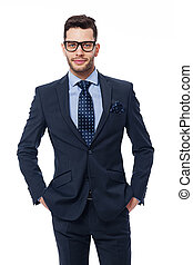 Portrait of handsome businessman with glasses