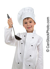 Portrait of handsome cheerful boy in chef uniform in a studio, holding a ladle