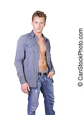 Portrait of handsome male model isolated on white background