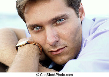 Portrait of handsome man, close up of young businessman, outdoors