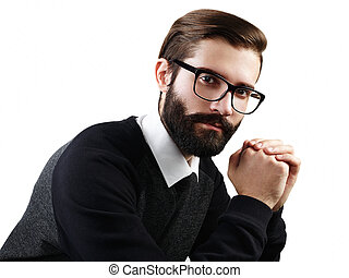Portrait of handsome man with beard. Fashion photo....