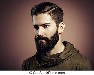 Portrait of handsome man with beard. Close-up