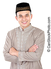 handsome muslim man smiling - portrait of handsome muslim...