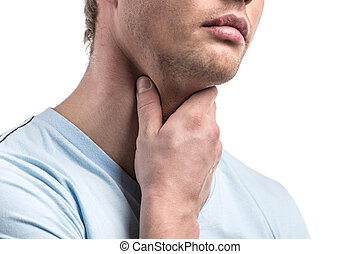 Portrait of handsome sick male with pain in throat. Man...