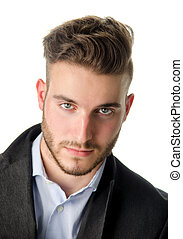 Portrait of handsome young man on white background