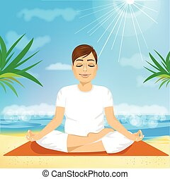 handsome young man sitting in yoga pose
