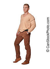 Portrait of handsome young man wearing casual clothing - ...