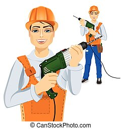 handyman holding green drill