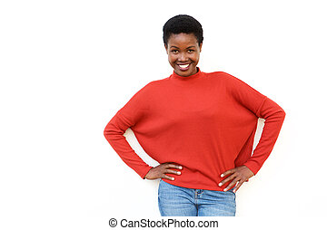 happy african american woman smiling against white background