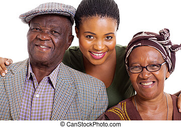 african family - portrait of happy african family on white ...