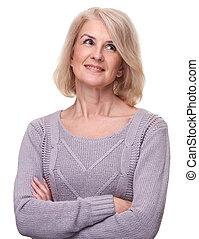 Portrait of happy aged woman