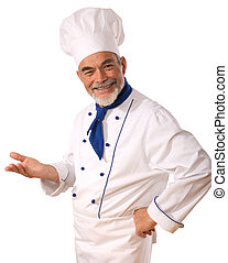 Portrait of happy attractive cook on the white background