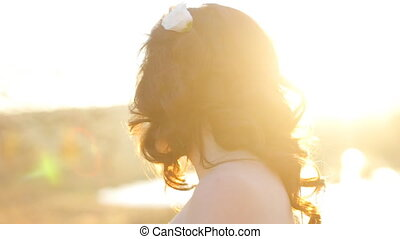 portrait of happy beautiful woman. close up of bride face. smiling young girl looking at camera. shot in slow motion  close up