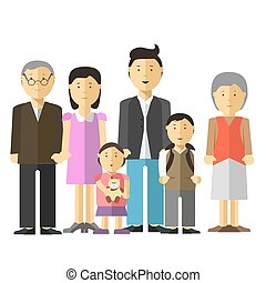 Portrait of happy big family together mother and father, grandfather grandmother, son daughter.