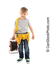 Boy Holding Cable Spool