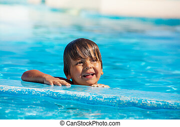 Portrait of happy boy in swimming pool